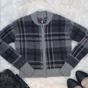 Free People Plaid Cardigan Bomber Jacket